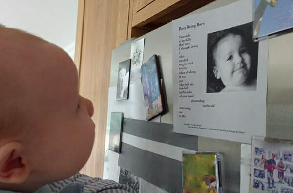 Fertile Heart Baby looking at Busy Being Born Poem