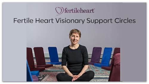 Julia Indichova sitting amongst chairs in studio Fertile Heart Visionary Support Circles