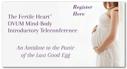 Pregnant Woman in White link to Fertile Heart Mind-Body Teleconference. Juicing for Fertility