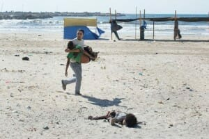 Children killed during an airstrike on the beach in Gaza (NYT Photo)