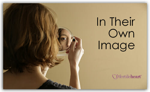 Woman looking at herself in mirror; In Their Own Image