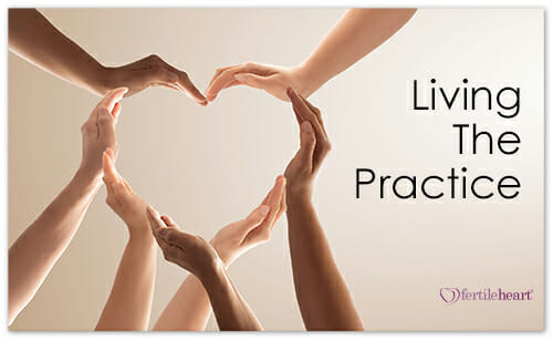 Hands forming heart Living the Practice
