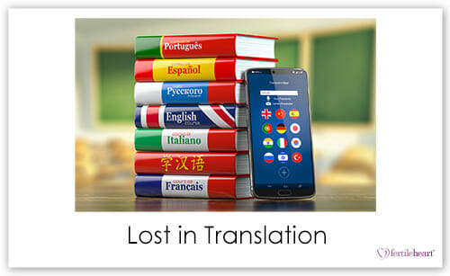language books and translation app on phone; lost in translation