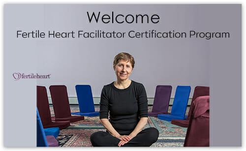 Julia Indichova in studio with chairs; Welcome Fertile Heart Facilitator Certification Program