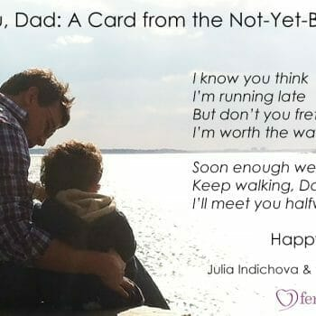 Father and Son Sitting near water I love you Dad card