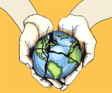 Hands holding fractured globe