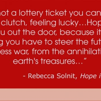 Hope is not a Lottery ticket Quote by Rebecca Solnit