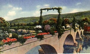 Vintage Postcard of the Bridge of Flowers, Shelburne Falls, MA